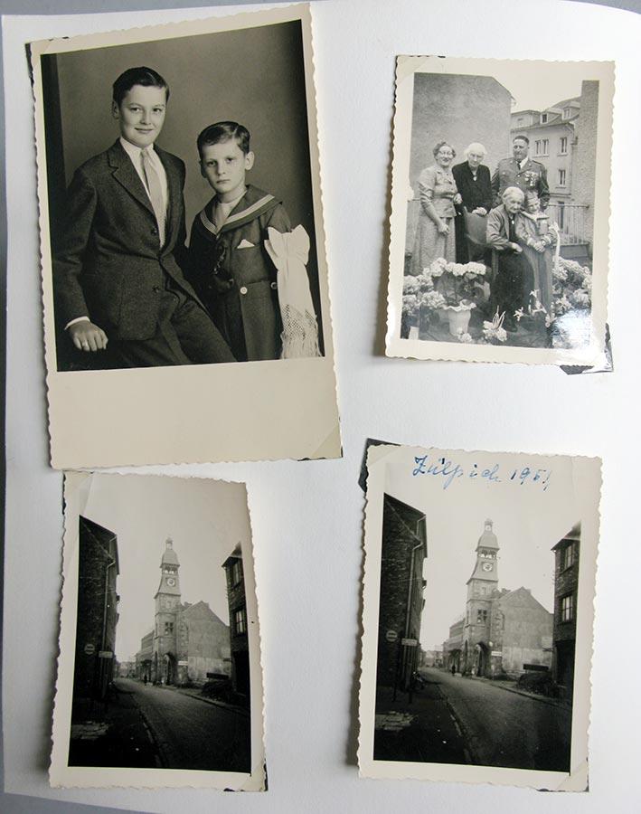Louis et Ally Dorfel (en haut, à gauche / oben links), Gertrud Mangen-Schmitz, Maria Schmitz, Guillaume Doerfel, Hedwig Schmitz-Fürstenberg, Ally Doerfel (en haut, à droite / oben rechts). La mairie et sa tour / Rathaus unsd sein Turm, Zülpich 1951 © photographes inconnus, droits réservés