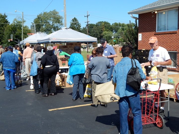 Members of Lutheran Social Services and Redeemer Lutheran work to provide fresh food for the Berwick and surrounding neighborhoods.