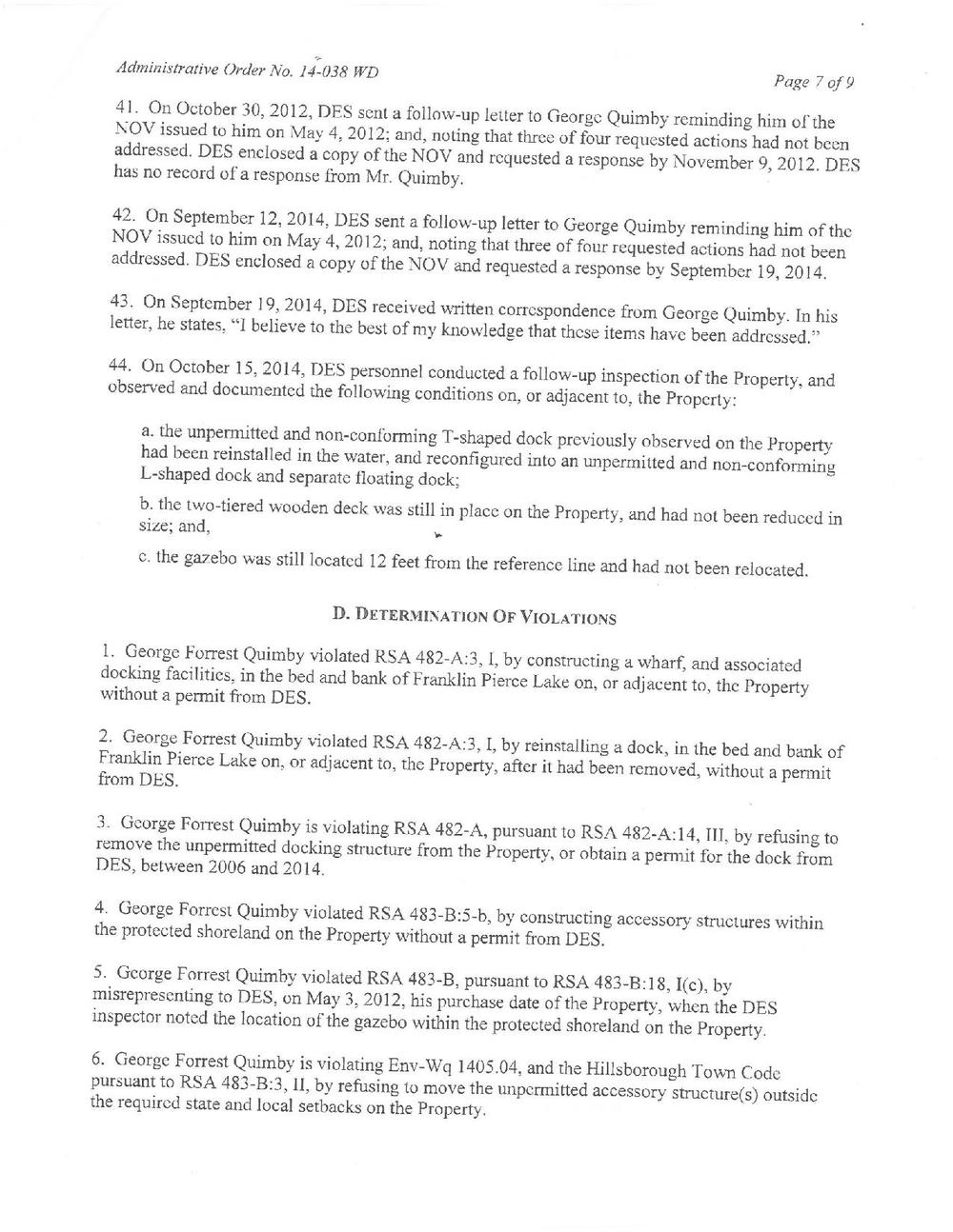 A list of violations from the Administrative Order that eventually led to the removal of the deck.
