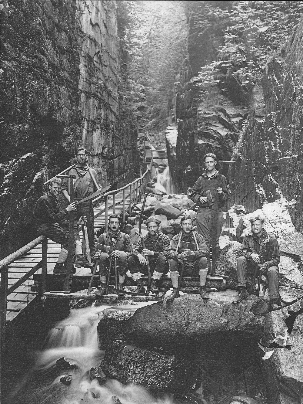 1924 Crew at the Flume Gorge  L to R:  Harland P. Sisk 1923-26(TM), Leonard B. Beach 1923-25, William J. Henrich 1924-27(TM), William L. Starr 1922-25(TM), Frederick Fish 1923-25, Harold D. Miller 1920-23(TM) & 24(TM), Dana C. Backus 1923, 24 & 26.