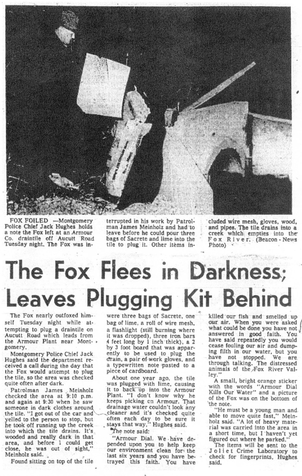 Article detailing a second attempt by the Fox at clogging the pipe. | The Aurora Beacon News | march 24th, 1971 | Page 1