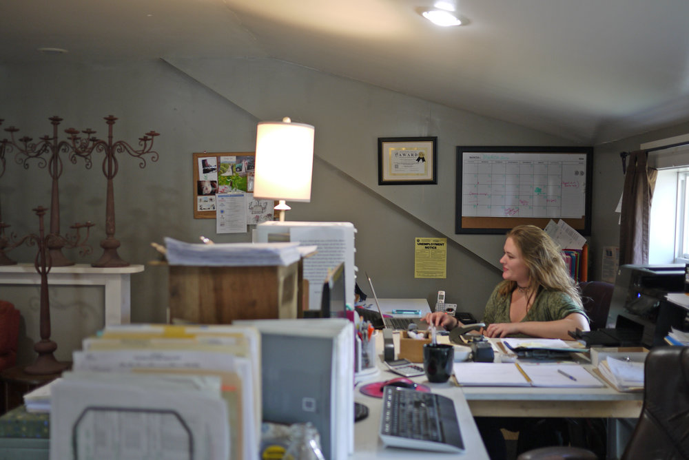 Emily's assistant, Emma Brumenschenkel at work in the office