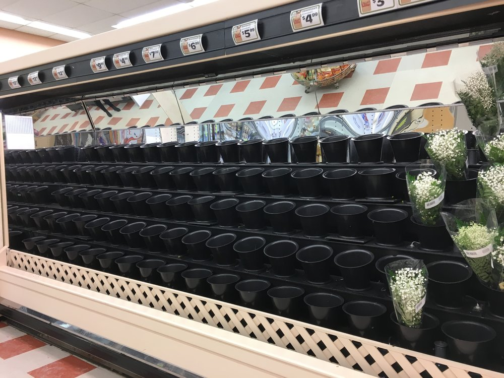 A flower display at a Concord, NH grocery store at 4pm on Valentine's Day. How about some baby's breath? | Photo: Molly Donahue
