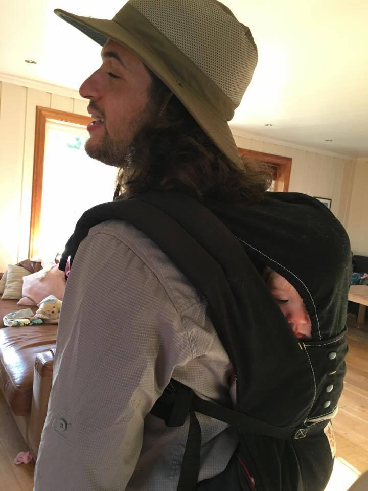 Jacob heading to the fields with his WWOOF host's child in tow.