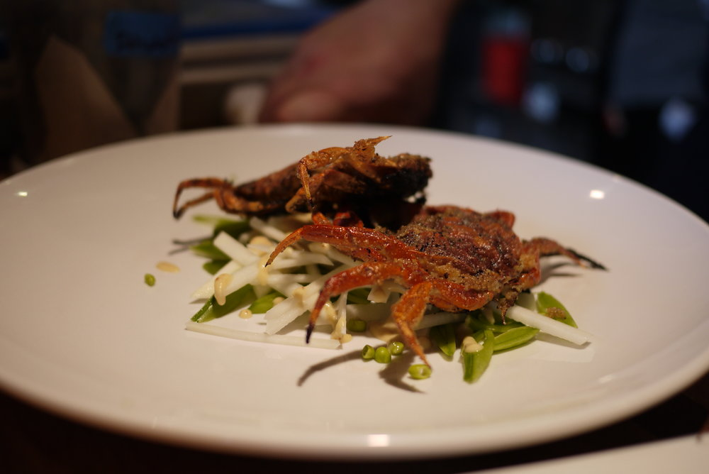 fried soft-shell green crabs, prepared specially for us by chef Brendan vesey of the joinery restaurant.  photo: logan shannon