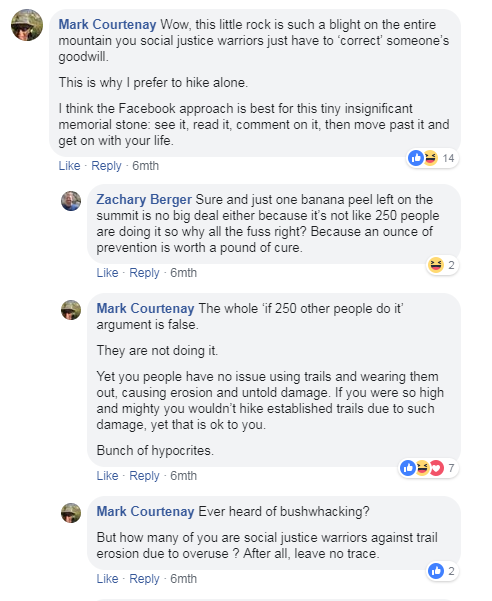 A small taste of the facebook flame war that erupted after the memorial stone photo was posted on facebook.