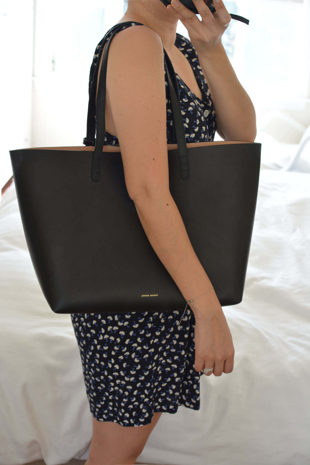 Black Leather Large Tote Mansur Gavriel dbaaKDqG