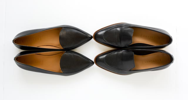 Comparison photo of Everlane Modern Points and Everlane Modern Loafers