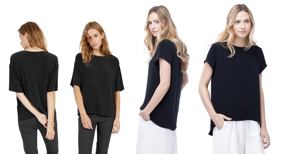 Everlane silk tee on left and Cuyana silk tee on right