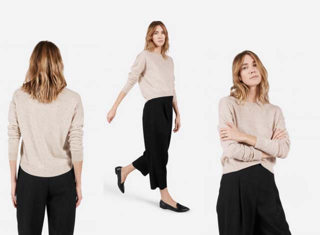 Everlane Donegal Cashmere Sweater & Marled Wool Chunky Knit Crew ...