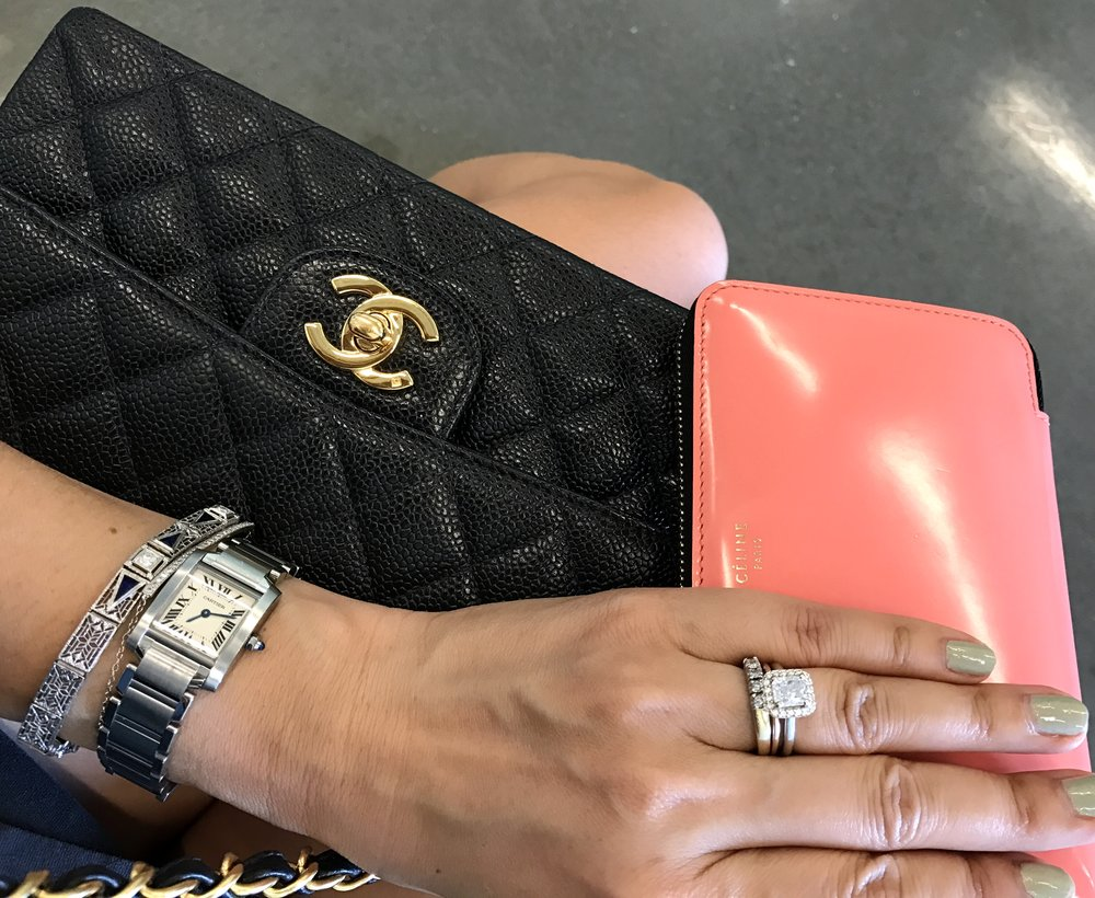 Three of my favorite used designer purchases (Chanel flap bag, Celine wallet, and Cartier Tank watch, all purchased from Fashionphile)