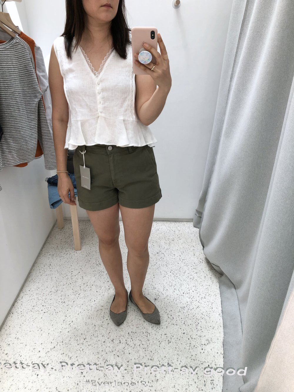 Everlane Review high rise cotton twill short