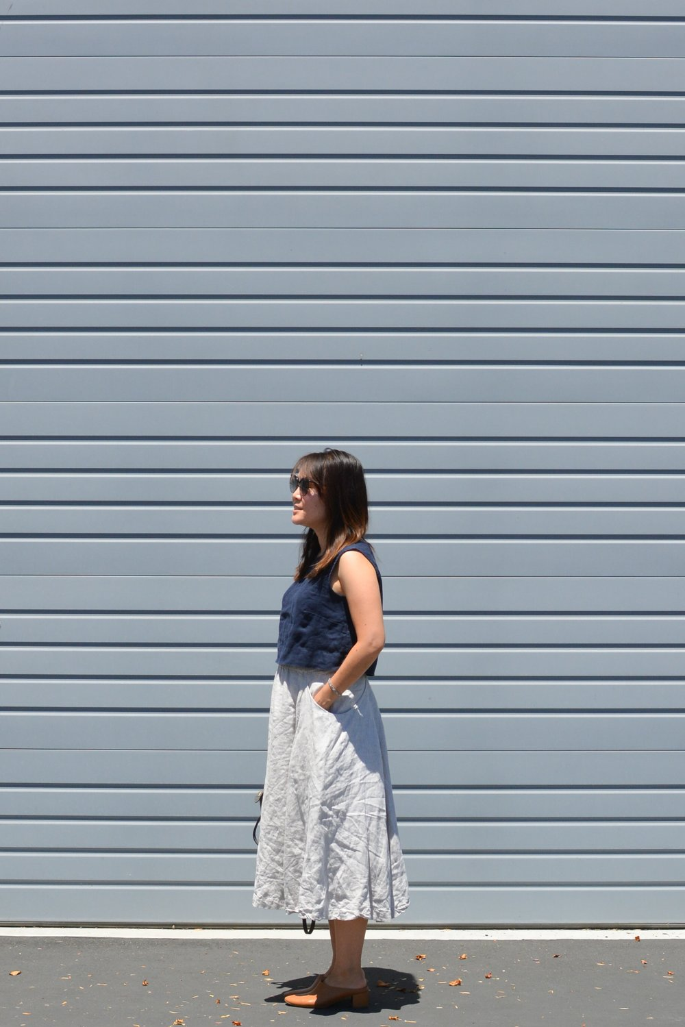 ES linen petra crop and linen clyde skirt