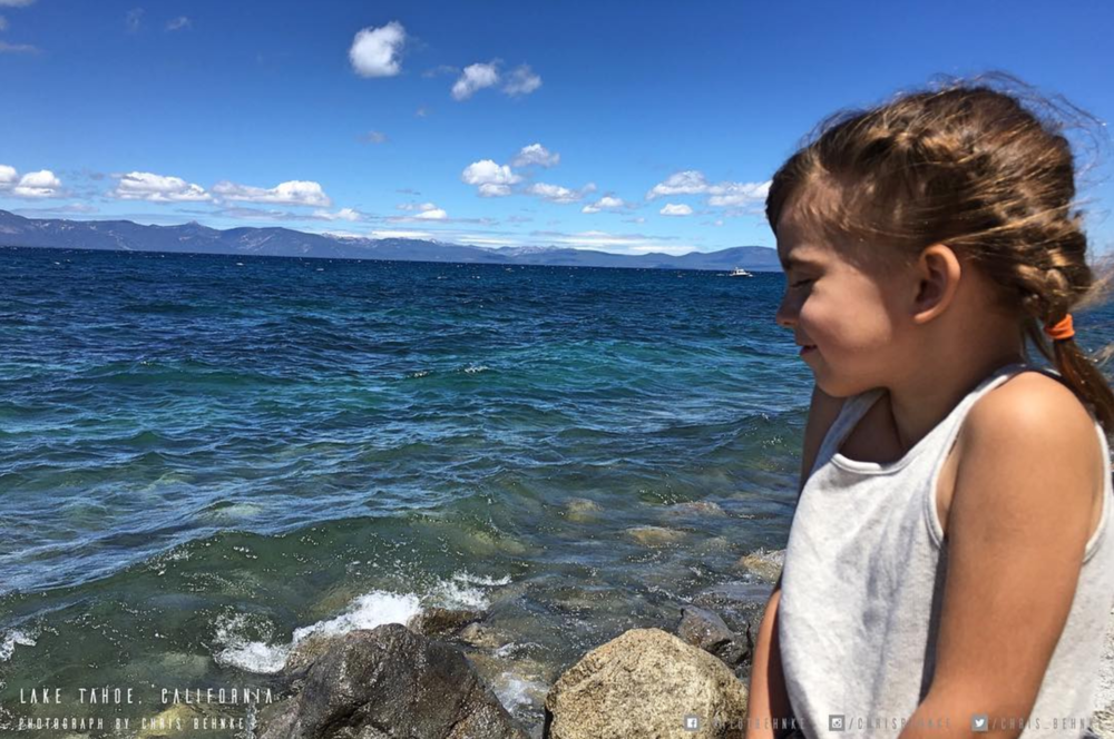 My youngest taking in all the fresh air blowing off Lake Tahoe