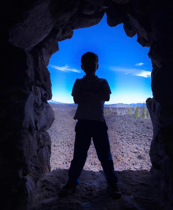 Sawyer (8) ready to take on the world, living life at the  Dee Wright Observatory