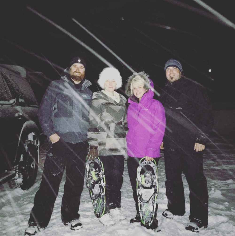 Here we are snowshoeing at 1:00 am with amazing life long friends! From left to right: Pete, Beth, Alice, and Chris.