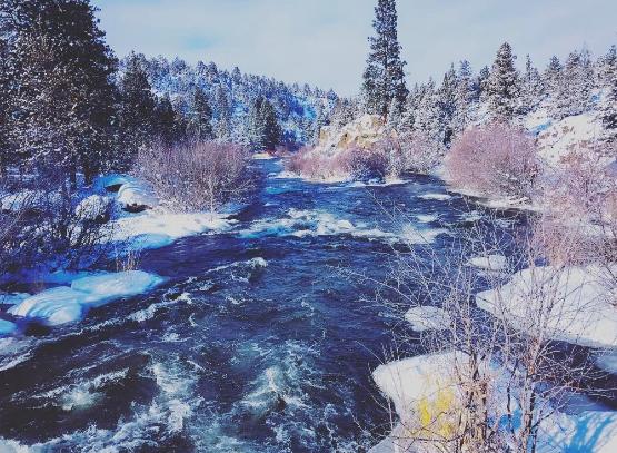 The Deschutes river last winter in Central Oregon