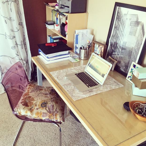 My home workstation! Throw a pillow on the chair to make your desk/dining table more ergo-friendly.