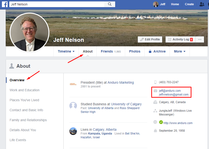 Facebook About Page for Jeff Nelson