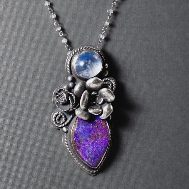 Opal, Moonstone, Sterling Silver