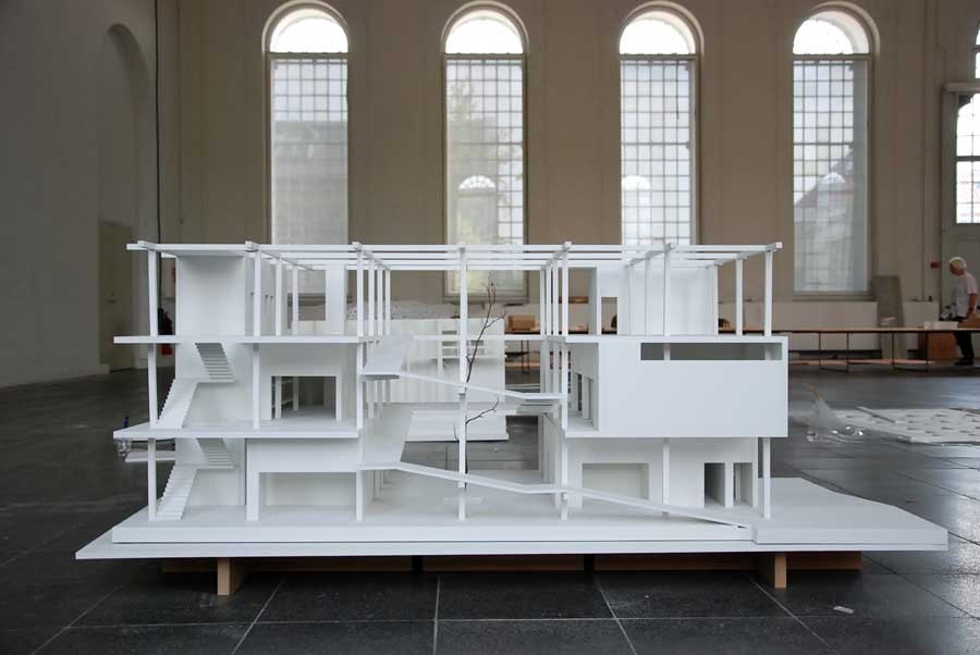 Model of Luis Cabral Creche proposal for Mozambique, at the Land Architecture People exhibition, held in 2009 at The Royal Danish Institute of Fine Arts School of Architecture in Copenhagen.