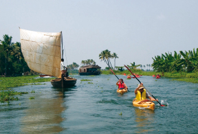 KAYAKING TRIPS IN THE BACKWATERS OF ALLAPHUZHA, KERALA, INDIA