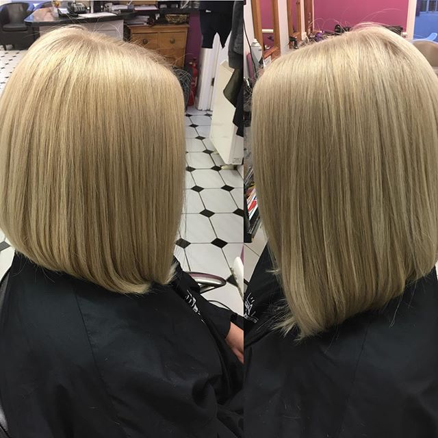 Great sharp blonde bob. Done by Zana @trimmershairdressers #bob #blondebob