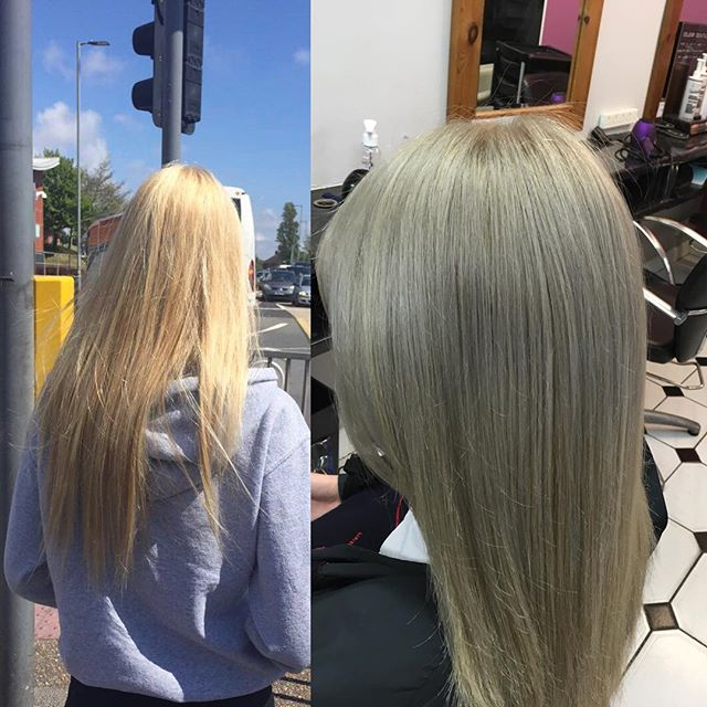 From golden blonde to silver smooth hair! Totally on trend! Done by Zana @trimmershairdressers  #silverhair #ontrendhair #lorealmatallic