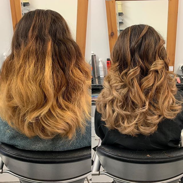 When someone tries to do ombré themselves...we do the best we can to upgrade the finish. Using balayage technique and soft toners it really calms the two tone look down. Done by Samantha @trimmershairdressers #greathair #upgradeyourhair