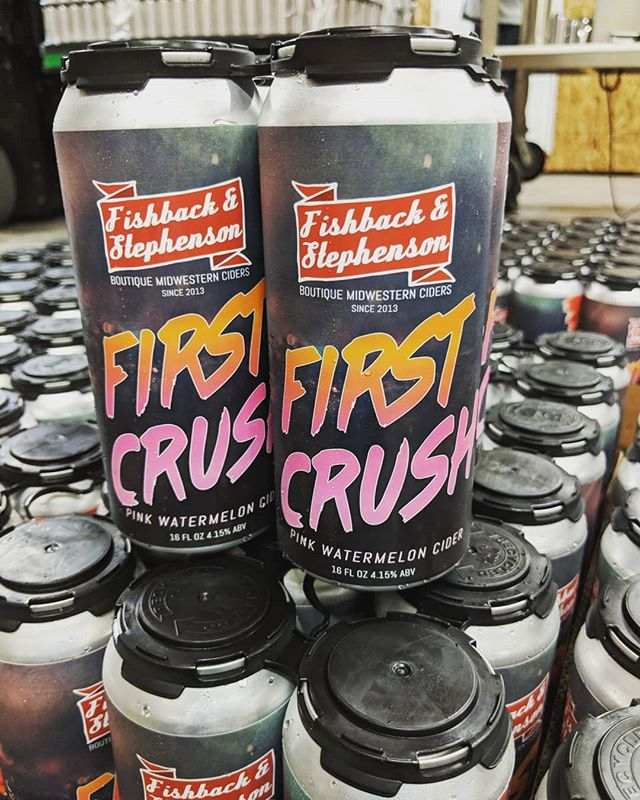 Cans are rolling out at our Fishback & Stephenson Cidery!! #firstcrush #watermeloncider #iowacider #cidercans #16oz #debut #crushit #summer #crisp #tasteofsummer #drinklocal #midwest #fishbackandstephenson #cidery #launch #distribution