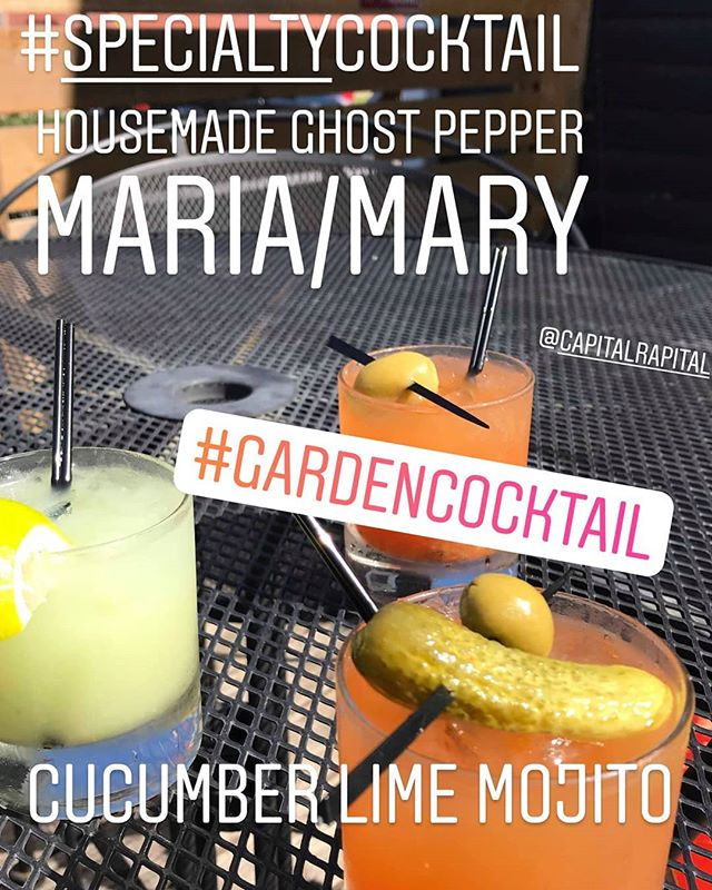 All made with fresh homegrown ingredients!! It's summer time, baby🤸🙋🍸#tonightonly #drinkspecials #gardencocktail #localingredients #ghostpepper #bloodymary #bloodymaria #mojito #humpday @capitalrapital