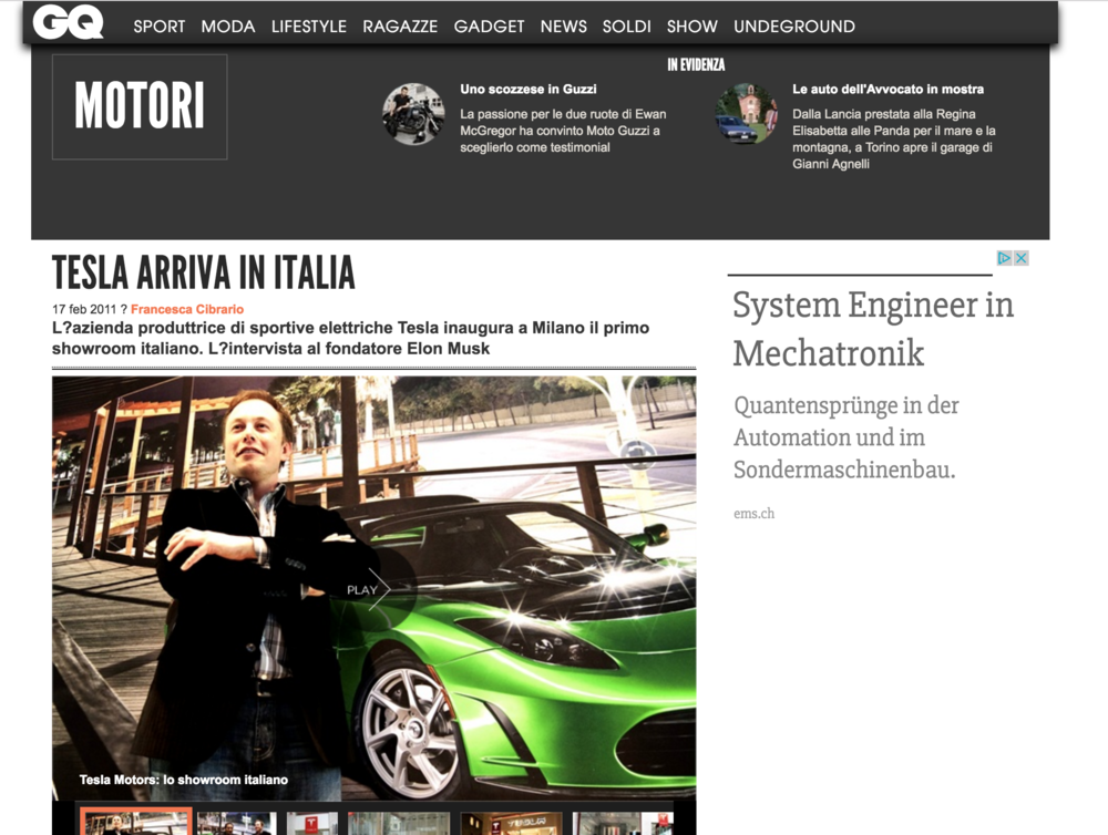 GQ Italia online version - Tesla 1st italian Store Launch, Milan 2011