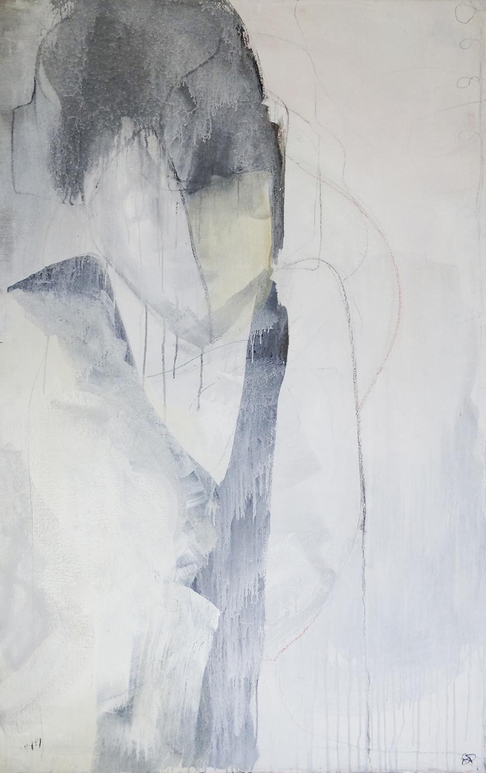 Mädchen im kleinen Schwarzen, Acryl/Graphit/Ölkreide/Leinwand, 2008, 175x110cm