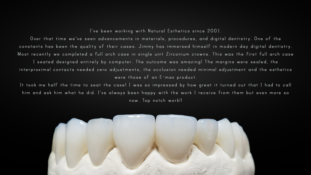 A review of a 14 unit ZirCAD case done by Natural Esthetics, Inc and seated by Dr. Roberto Bellegarrigue.