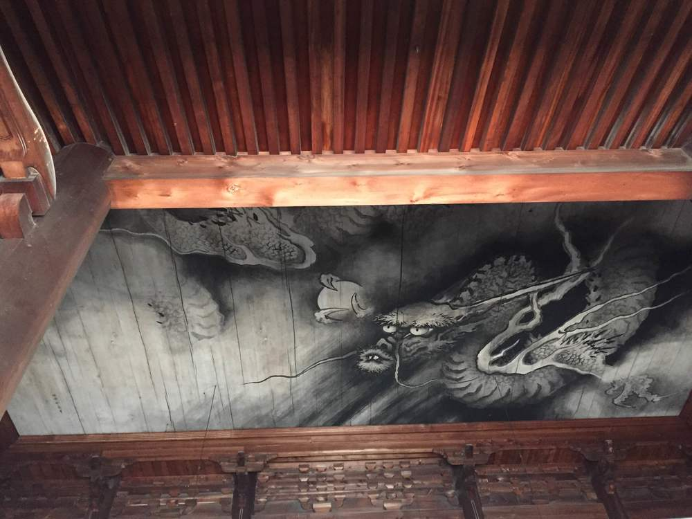 The dragon painting on the ceiling of the Main Hall in the Tofukuji Temple.