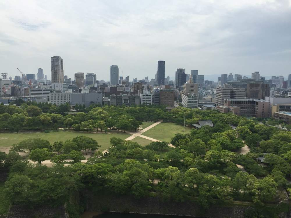 A view from the top of Osaka castle.