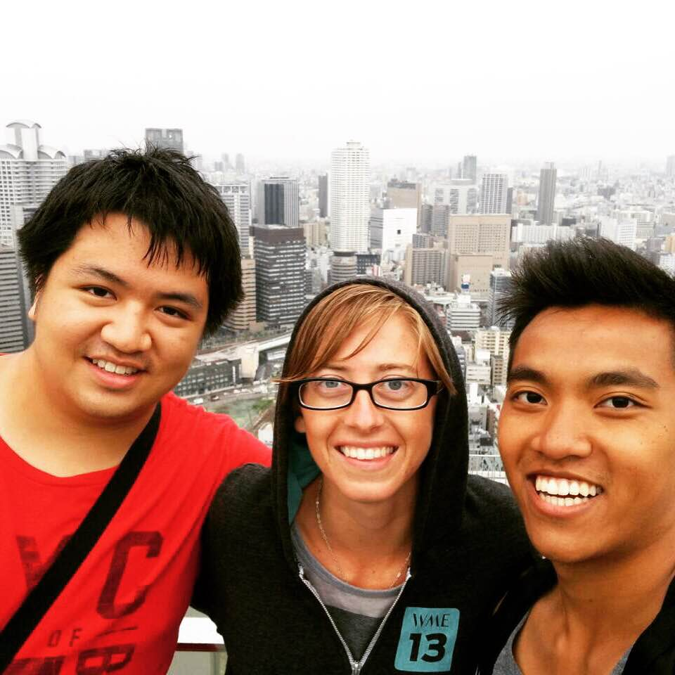 A view of Osaka from the top of the Umeda Sky Building with two friends I made in Tokyo! Unfortunatelyit was a cloudy day, but still worth 700 yen :)