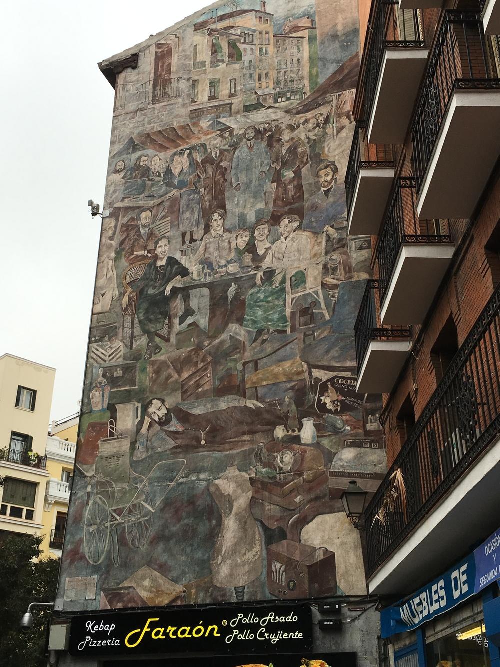 The mural at the famous El Rastro flea market