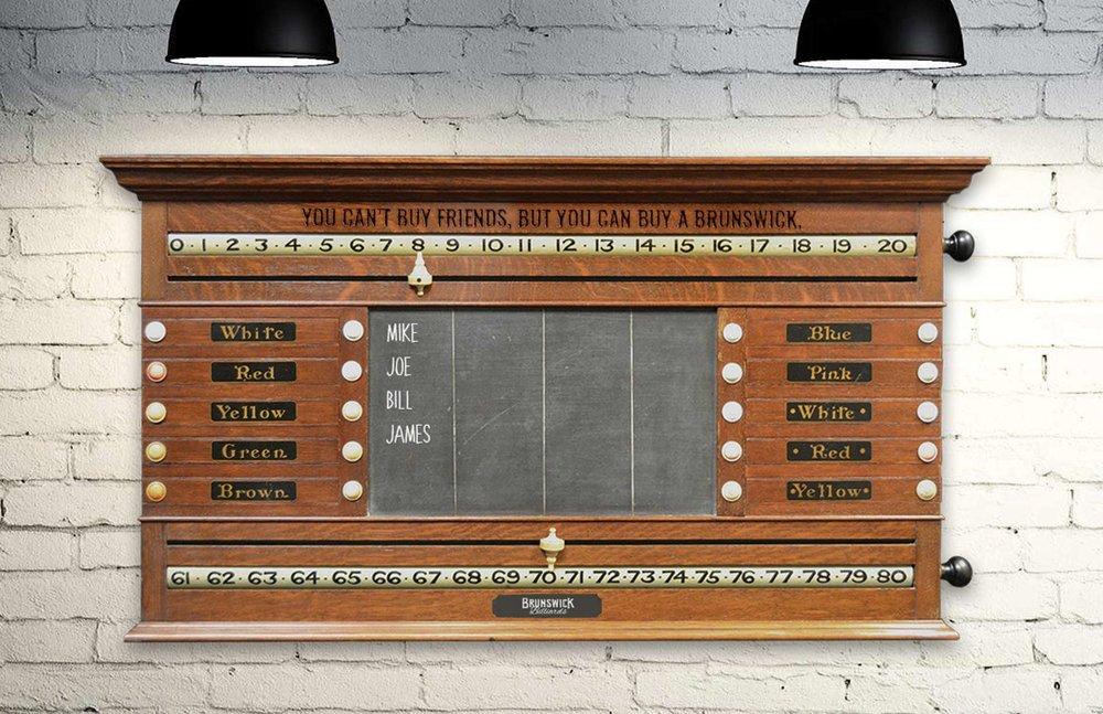 Keep score on a Brunswick-branded scoreboard