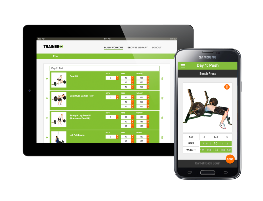 Trainer+ web and mobile applications.