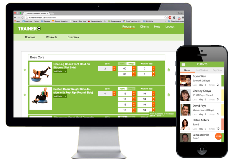 trainer plus web and mobile app