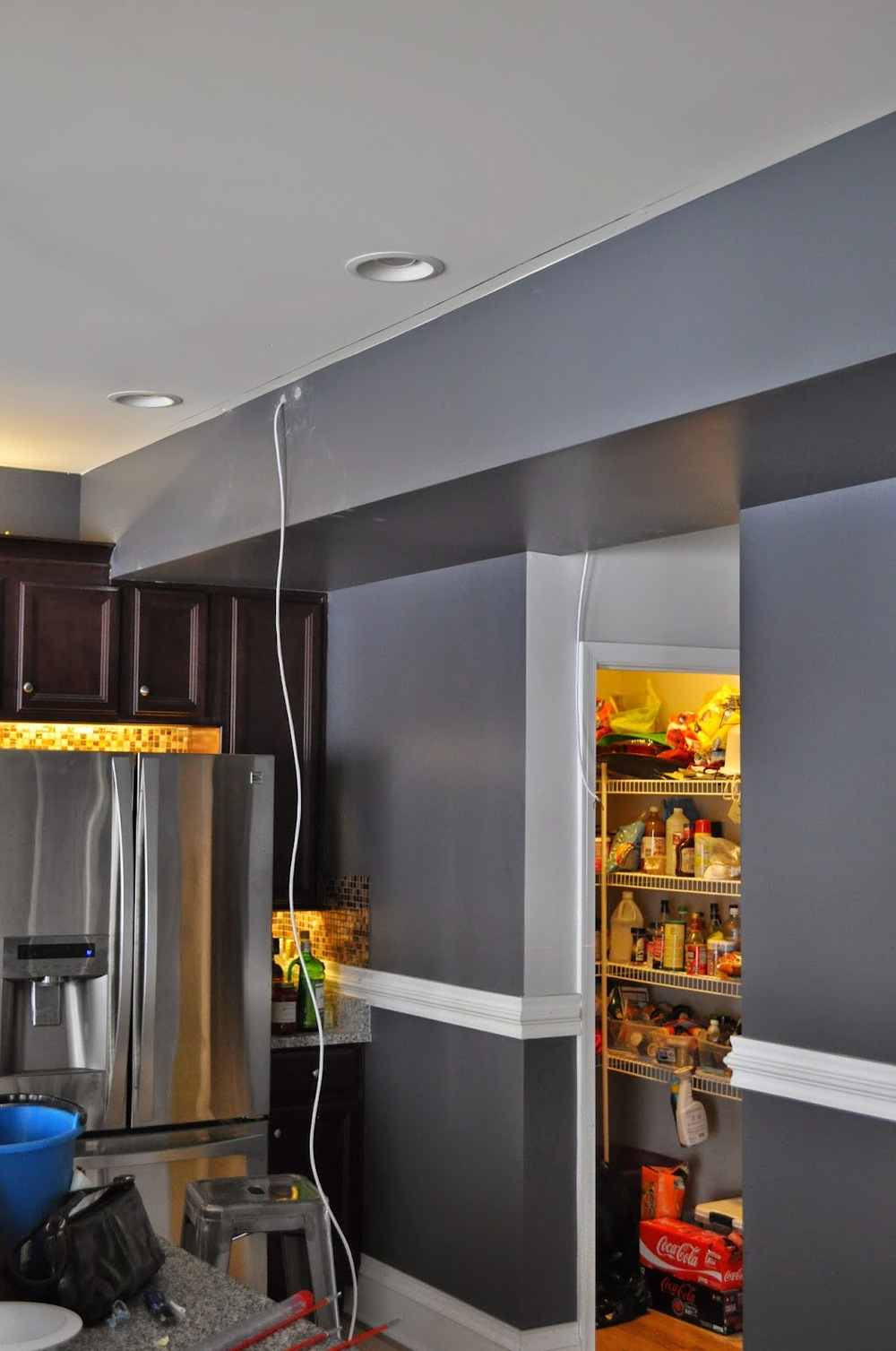 Crown Surround Another Rome Wiring Zones Kitchen From The Dining Room Was A Challenge I Able To Fish Wires Over Hvac Inside Bulkhead Come Out Into
