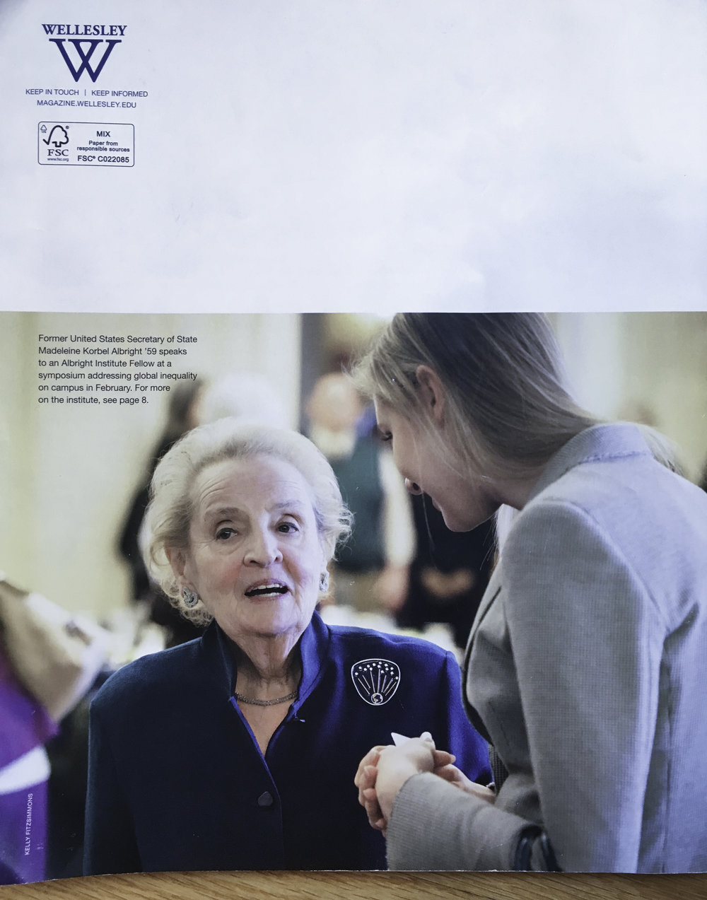 Former Secretary of State Madeleine Albright chats with a student at the annual Albright Institute at Wellesley College.
