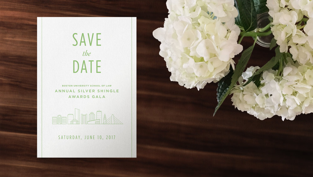 Kate Cunningham Design // BU LAW SIlver Shingle Gala // Collateral // Save The Date