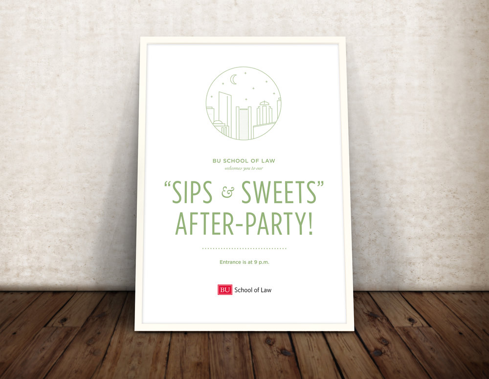 Kate Cunningham Design // BU LAW SIlver Shingle Gala // Collateral // Poster