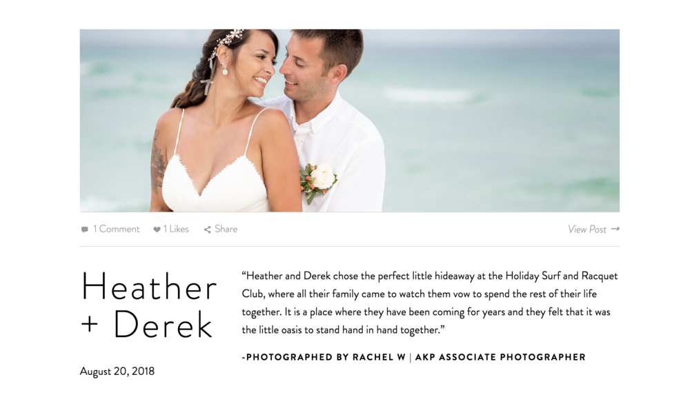 A Featured Blog Post - We believe in revealing your amazing photos, doing whatever it takes to get previews published on our widely-shared blog very soon after your wedding.