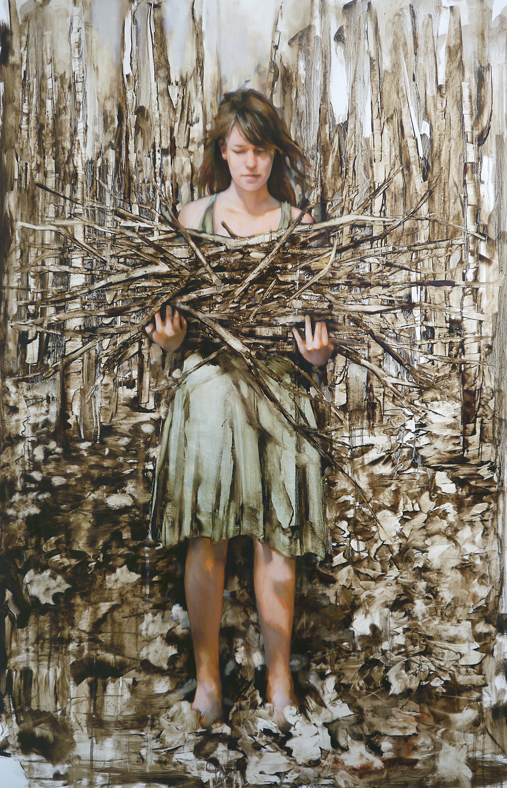 "Stick Gatherer, Oil on paper, 44"" x 30"""