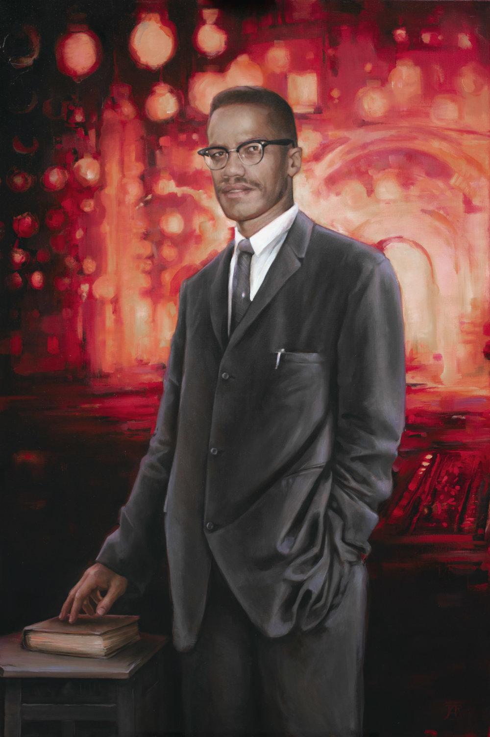 "Malcolm X, Oil on Linen, 40""x 60"", 2018"