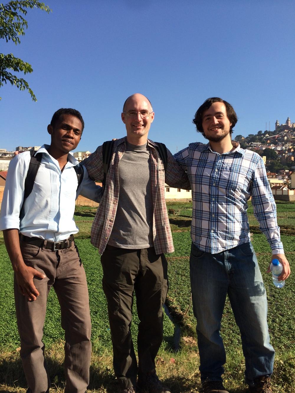 Graduate student Heritiana Randrianatoandro,Dr. Perry, and graduate student Richard Bankoff in Antananarivo, Madagascar