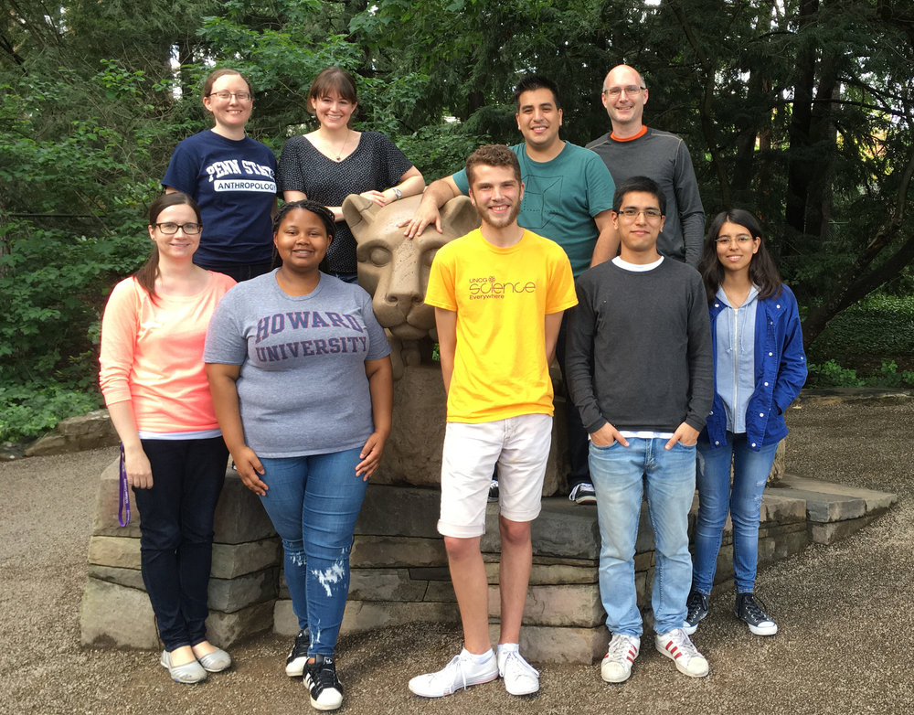 Perry lab members with three students from Peru (Eduardo Gushiken Ibanez, Ana Paula Vargas Ruiz, and Alejandro Ortigas Vasquez) and Summer Research Opportunities Program student NaTazah O'Neill who was visiting us from Howard University, during a summer 2017 two-week bioinformatics and RNA-seq workshop (funded by a Wenner-Gren Foundation International Collaborative grant) led by lab postdoc Christina Bergey.
